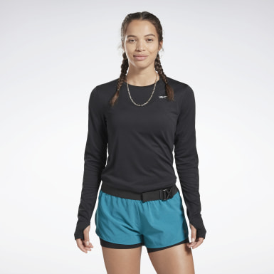 Women Running Black Running Essentials Tee