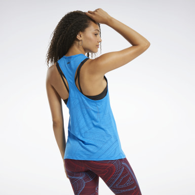 Women Yoga Blue Burnout Tank Top
