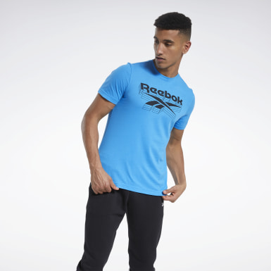 Men Fitness & Training Blue Graphic T-Shirt