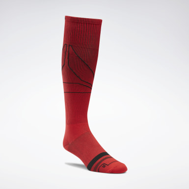 Men Training Red Reebok Knee High Compression Socks