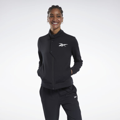 Women Hiking Black Track Top