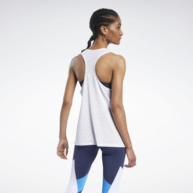 Women Training White Perforated Tank Top