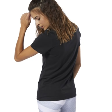 Dames Fitness & Training Zwart T-shirt met Ronde Hals
