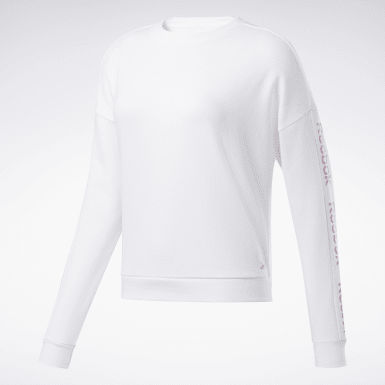 Women Fitness & Training White Linear Logo Crew Sweatshirt