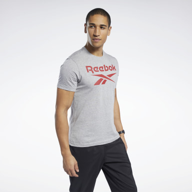 T-shirt Graphic Series Reebok Stacked Grigio Uomo Fitness & Training