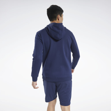 Men Outdoor Blue Training Essentials Fleece Zip Up Hoodie