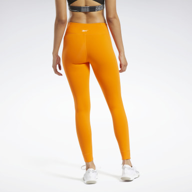 Women Fitness & Training Orange Reebok Lux 2 Tights