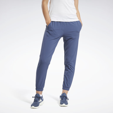 Women Training Blue Stretch Woven Pants