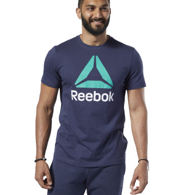 Polo Reebok Stacked Azul Hombre Fitness & Training