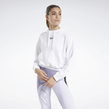 Women Classics White Cropped Hoodie