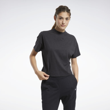 Women Fitness & Training Black TE Texture Solid Tee