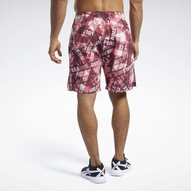 Men Cross Training Burgundy Reebok CrossFit® Austin II Taped Print Shorts