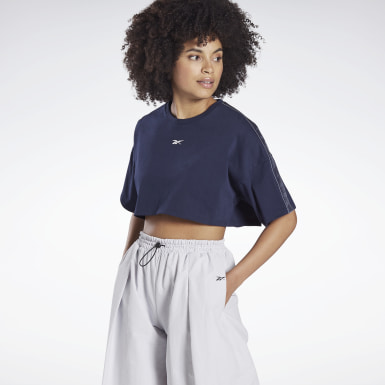 Frauen Dance Vector Velour Short-Sleeve Crop Top Blau