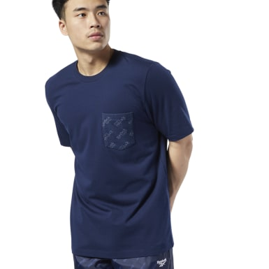 Men Classics Blue Classics Logo Pocket Tee