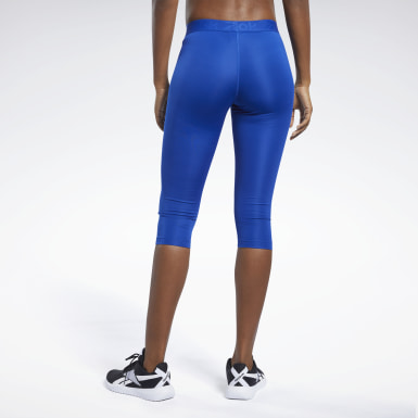 Women Hiking Blue Capri Tights