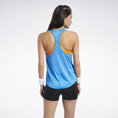 Women Training Blue Mesh Back Tank Top