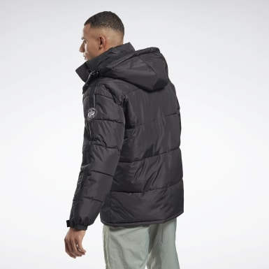 Heren Wandelsport Zwart Winter Puffer Jack