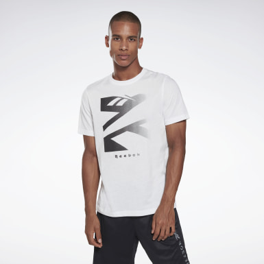 T-shirt Vector Fade Graphic Blanc Hommes Fitness & Training