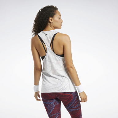 Women Yoga White Burnout Tank Top