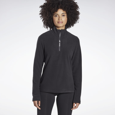 Women Hiking Black Outerwear Quarter-Zip Top