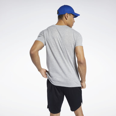 Men Yoga Grey Workout Ready Jersey Tech Tee