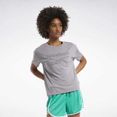 Women Fitness & Training Grey Workout Ready Supremium Slim Fit Big Logo Tee