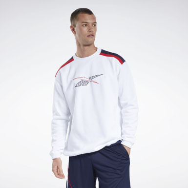 Men Classics White Classics Team Sports Crew Sweatshirt