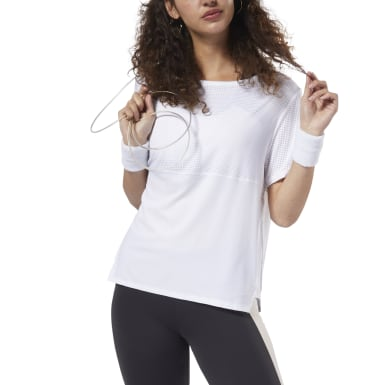Women Fitness & Training White Perforated Performance Tee