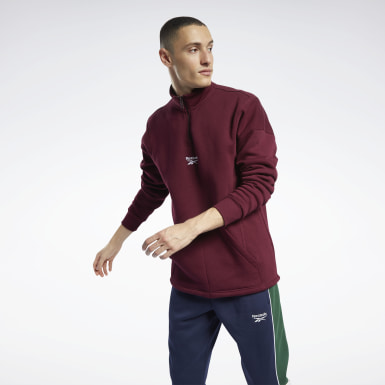 Men Classics Burgundy Classics Half-Zip Sweater