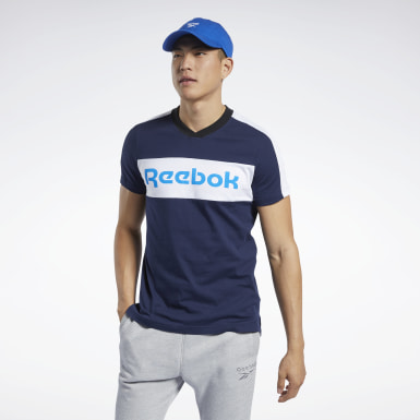 Men Training Blue Training Essentials Linear Logo Graphic Tee