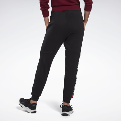 Women Fitness & Training Black Linear Logo Pants