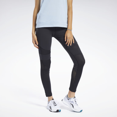 Women Training Black Reebok Lux Colorblock Tights 2.0