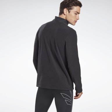Men Hiking Black Outerwear Quarter-Zip Top