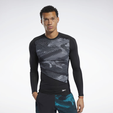 T-shirt de compression à motif Noir Hommes Fitness & Training