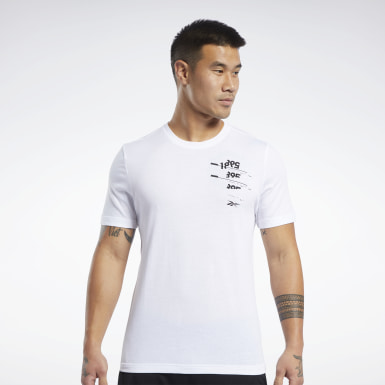 Men Fitness & Training White Graphic Tee