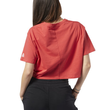 Women Fitness & Training Red Training Essentials Linear Logo Crop Tee