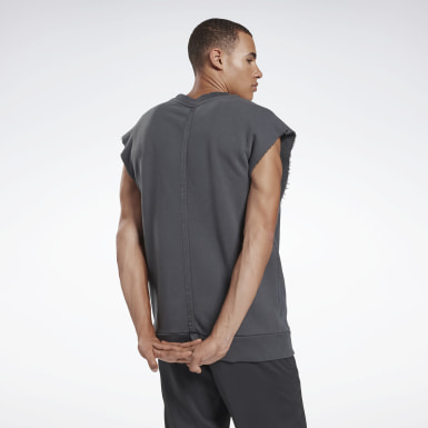 Men Fitness & Training Grey Combat Washed Sleeveless Crew