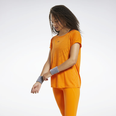 Women Yoga Orange Burnout T-Shirt