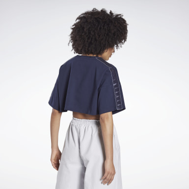 Kvinder Dance Blue Vector Velour Short Sleeve Crop Top