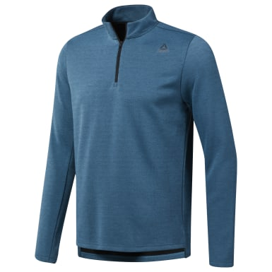 Men Training Turquoise WOR Mélange Doubleknit Quarter-Zip Sweatshirt