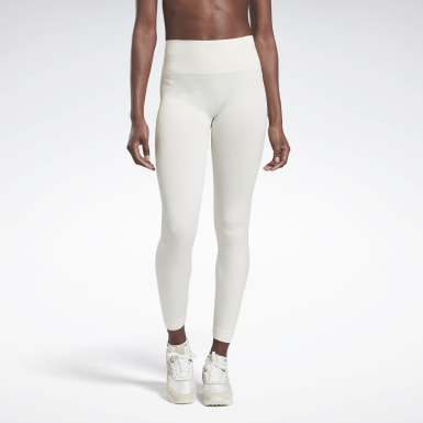 Women Yoga White VB Seamless Tights