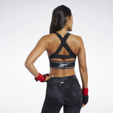 Women Fitness & Training Black Combat Jacquard Medium Impact Bra