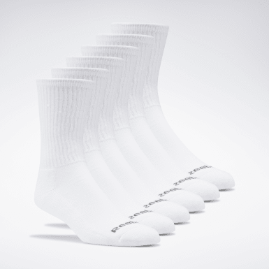 Kids Training White Crew Socks 6 Pairs