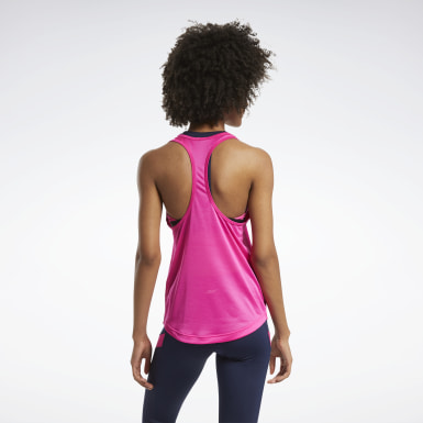 Women Fitness & Training Pink Mesh Back Tank Top