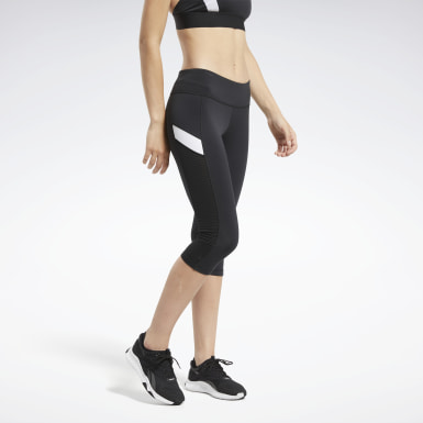 Kvinder Cycling Black Workout Ready Mesh Capri Tights