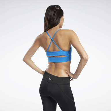 Women Training Blue Workout Ready Low-Impact Tri Bra