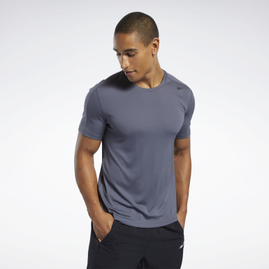 Männer Yoga Workout Ready Polyester Tech T-Shirt Blau