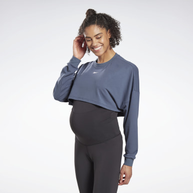 Women Studio Blue Studio Maternity Cropped Long Sleeve Top