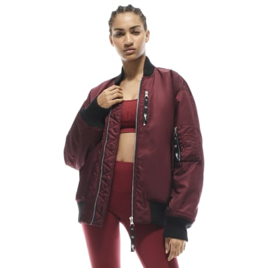 Women Training Burgundy Victoria Beckham Oversized Bomber Jacket