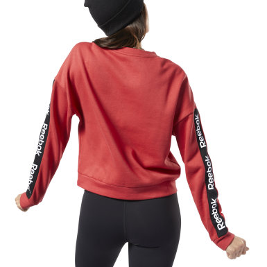 Felpa girocollo Training Essentials Logo Rosso Donna Fitness & Training